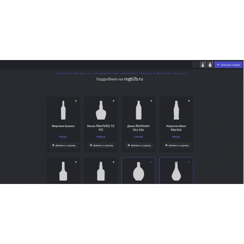 Структура продукта с возможностью сравнения товаров в интернет магазин